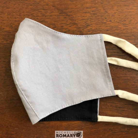 Solid Color Face Mask, Fitted, Reversible, Washable, 2 Layers-Cotton, Wired Nose, Head & Neck Ties, Pocket for Filter (Filter Not Included)