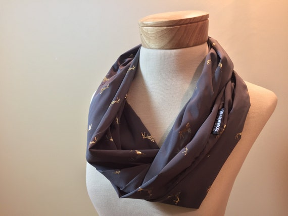 Red, Gray, or Blue Chiffon Infinity Scarf featuring Gold Foil Deer Heads, Circle Scarf