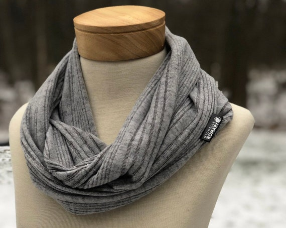 Luxe Infinity Scarf, Ribbed Heather Gray Sweater Knit, Circle Scarf