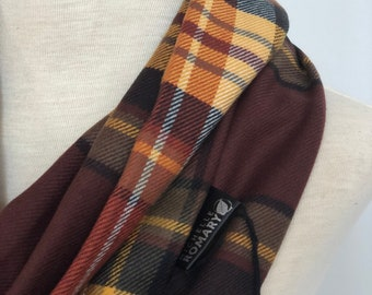 Plaid Infinity Scarf: Brown, Burnt Orange, White, Black, Taupe, and Yellow Plaid, Luxuriously Soft, Loop/Circle Scarf