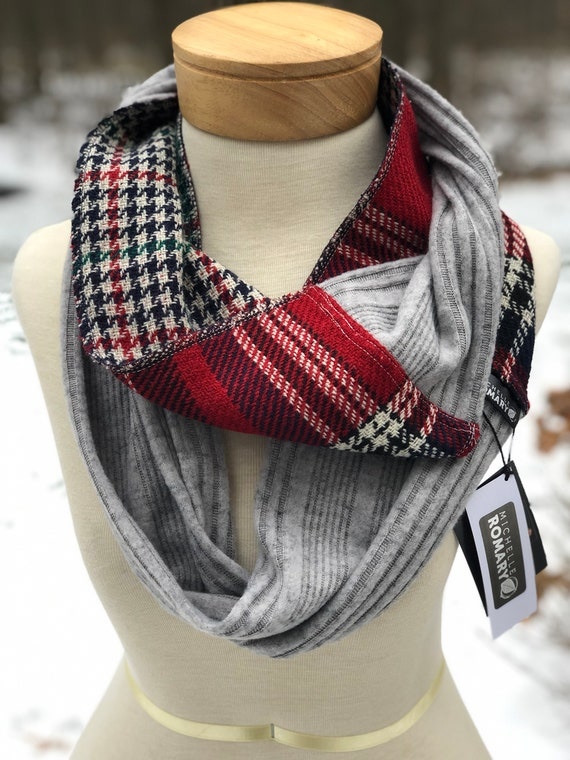 Luxe Heather Gray Sweater Knit & Reversible Red, Black, Navy, Cream Plaid to Red, Navy, Cream, Green Houndstooth Infinity Circle Scarf