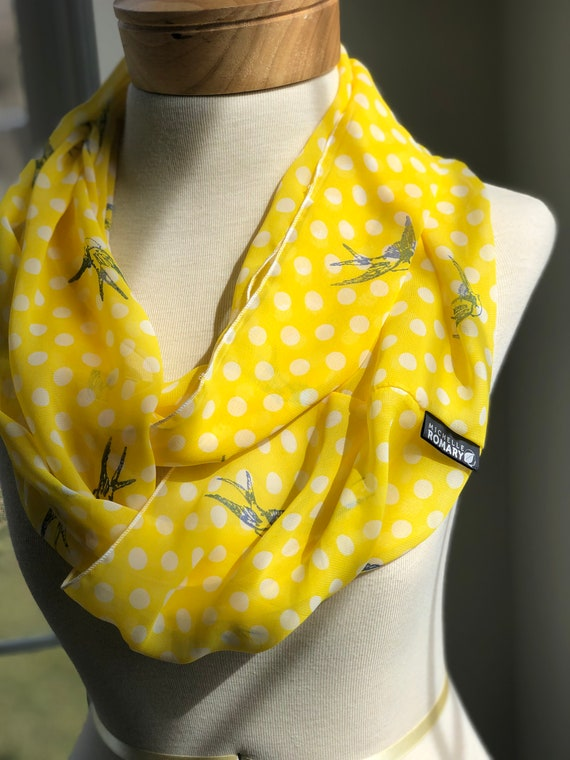 Handstamped Blue Bird Scarf, Stamped on Chiffon Yellow and White Polka Dots or Egg Shell and White Stripes, Infinity, Circle, Loop Scarf