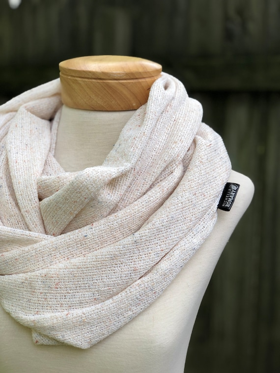 Oversized Cream Sweater Knit Infinity Scarf, Hints of Blue, Orange, and Red, Lightweight, Double Layered