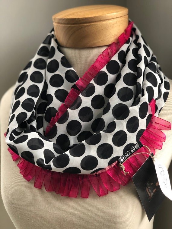 Black & White Polka Dotted Scarf with Pink Ribbon Accents, Infinity, Circle, Loop Scarf