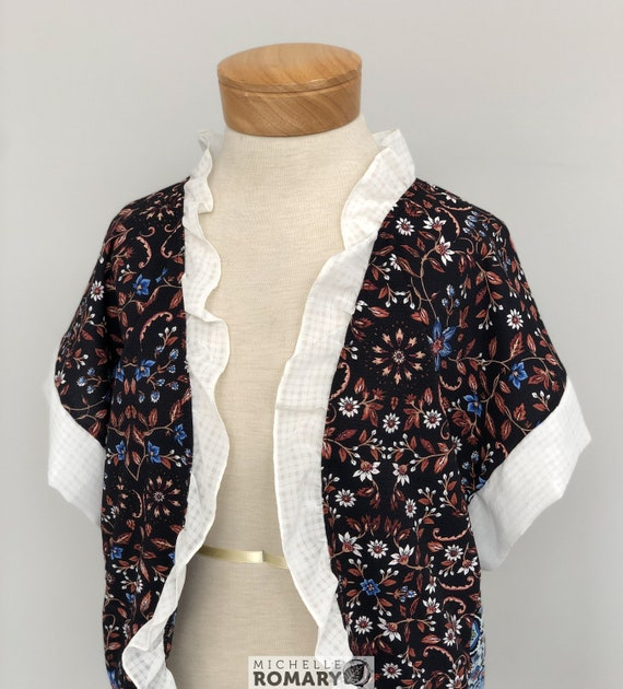 Feminine Boho Chic Cardigan, Black & Blue Floral Semi-Sheer Chiffon, Cream Gingham Ruffled Collar, No-Close Front, Oversized Square Sleeves