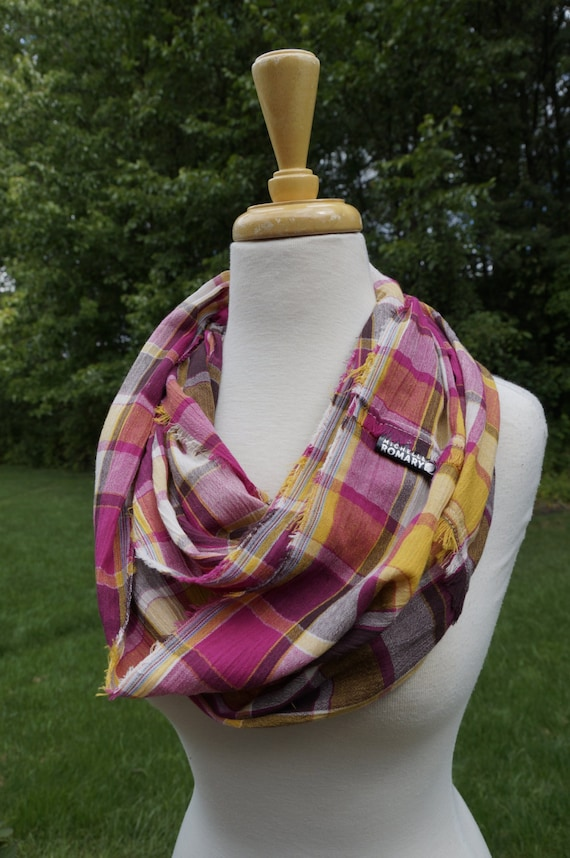 Pink, White, Yellow & Brown Plaid, Hand Frayed, 100% Cotton Gauze, Infinity Scarf; Circle Scarf