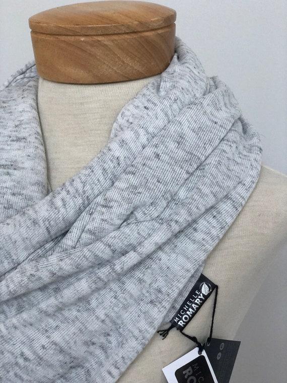 Oversized Heathered Light Gray Sweater Knit Infinity Scarf, Lightweight, Double Layered