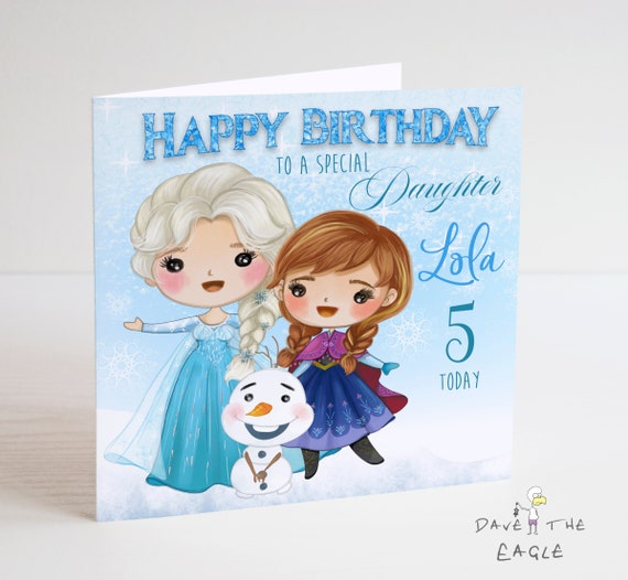 Fabulous Frozen Personalised Birthday Card Elsa Anna And Olaf Let Etsy Birthday Cards Printable Benkemecafe Filternl