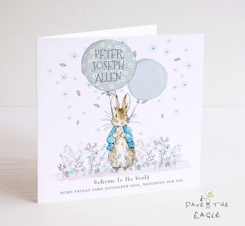 Peter Rabbit New Baby Card Welcome to the World