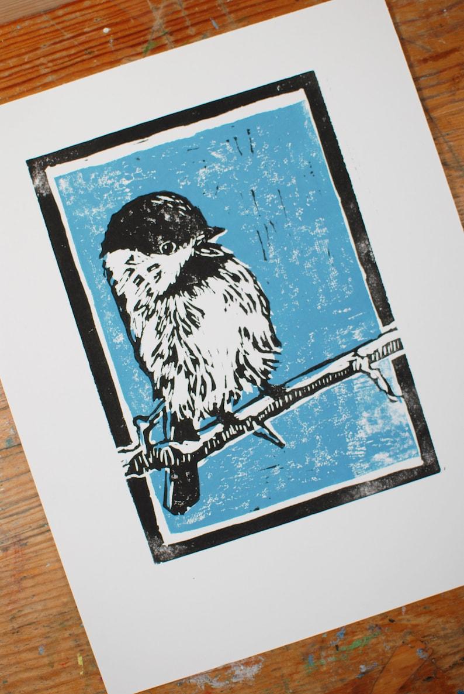 Five Colors Available! Chickadee Block Print II