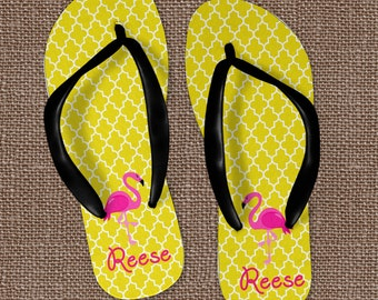 ac9b4429c562 Personalized Flip Flops ~ Monogram Flip Flops~Flamingo Flip Flops~Beach  Sandals ~ Wedding Flip Flops ~ Monogram Sandals ~ Initial Flip Flops