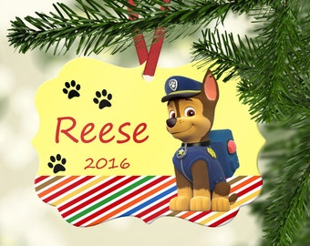 personalized paw patrol ornament chase christmas ornamentdog ornament paw printkids ornament - Paw Patrol Christmas Decorations
