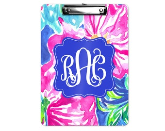 Personalized Clipboard ~ 2-sided Clipboard ~ Monogram Clipboard ~ Teacher Gift ~ Custom Clipboard ~ Lilly Pulitzer Inspired Clipboard