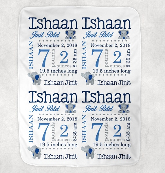 Personalized Birth Stats Baby Blanket ~ Monogram Blanket ~ Birth Announcement ~ Photo Prop ~ Name Blanket ~ Baby gift