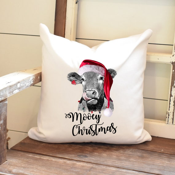 Mooey Christmas Pillow Cover Cow Throw Pillow Farmhouse Etsy