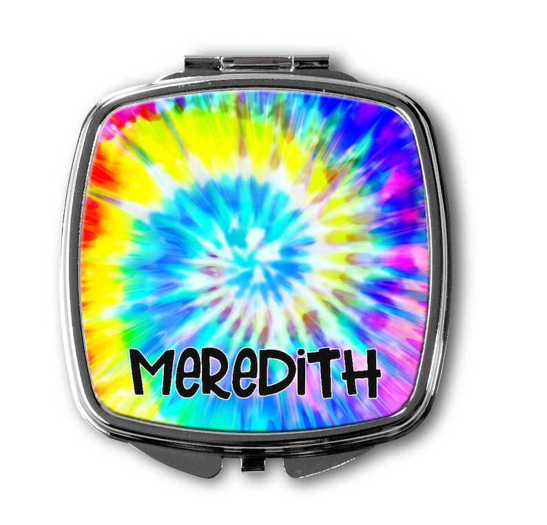 Personalized Compact Mirror~Tie Dye Mirror~Monogram Compact Mirror~Initial Mirror~Monogrammed Mirror~Bridesmaid Gift~Flower Girl Gift