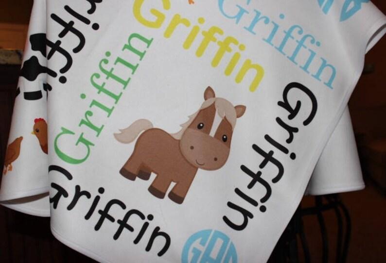 Personalized Baby Blanket ~ Farm Blanket ~ Cow ~ Horse ~ Pig ~ Monogram Blanket ~ Photo Prop ~ Name Blanket