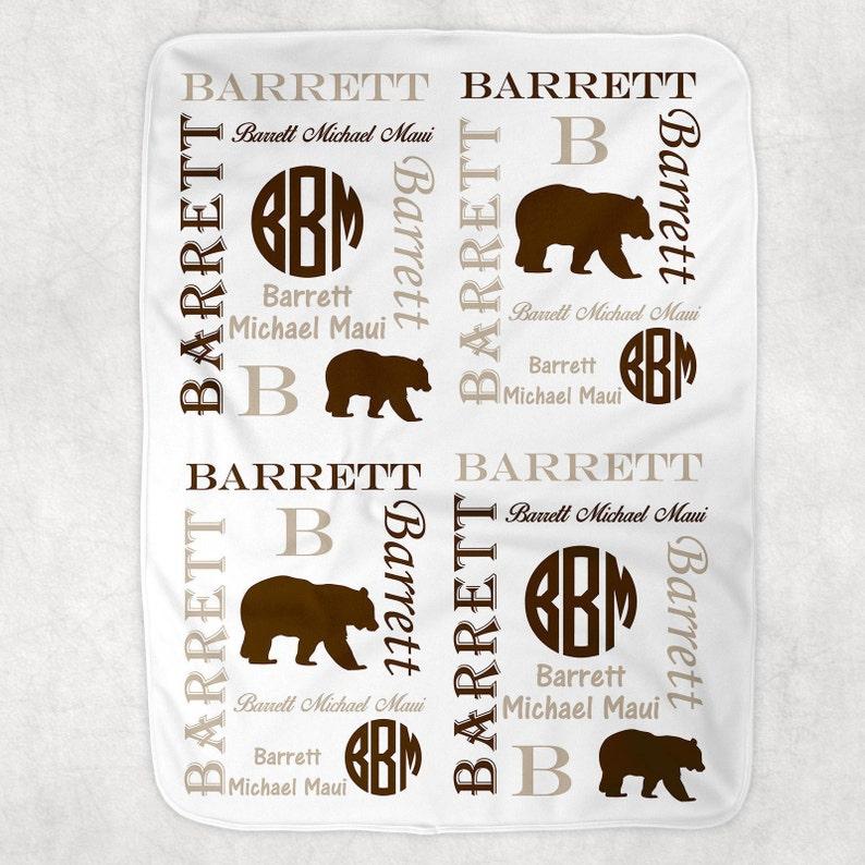 Personalized Baby Blanket ~ Bear Blanket ~ Monogram Blanket ~ Photo Prop ~ Name Blanket