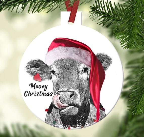 Christmas Cow.Cow Christmas Ornament Mooey Christmas Farmhouse Ornament Farm Ornament Barn Animal Christmas Ornament Family Ornament