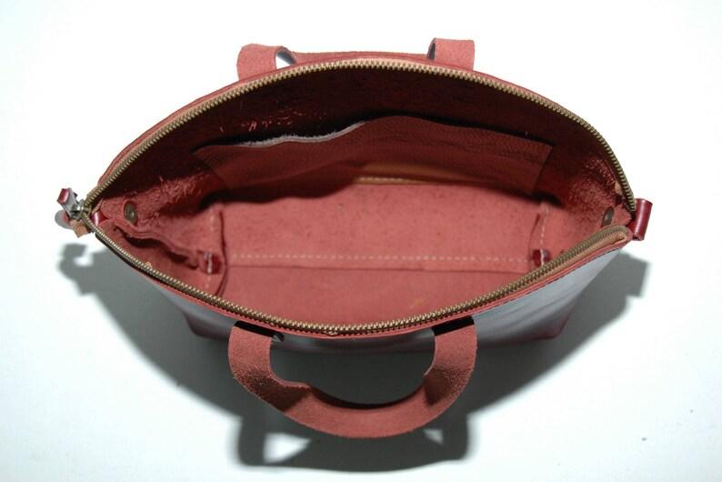 Leather tote bag dark cabernet color,zip closure medium size