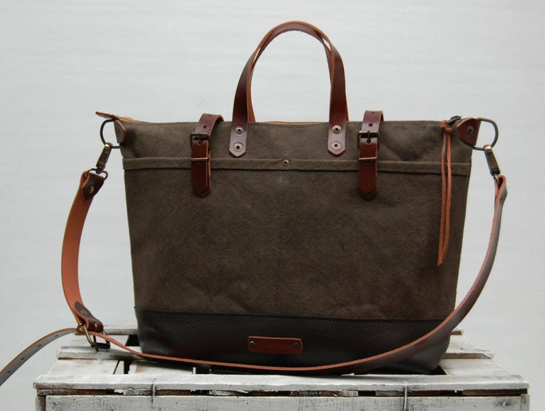 ZIPwaxed canvas bag tote bag  with leather handles  55281ff5ba847