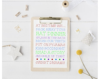 Printable Bedtime Rules Typography