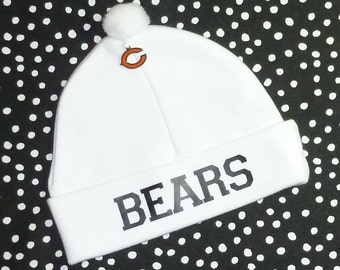 2df5985989a Newborn Baby Hat for the Chicago Bears Fan Infant Cap Charm Beanie