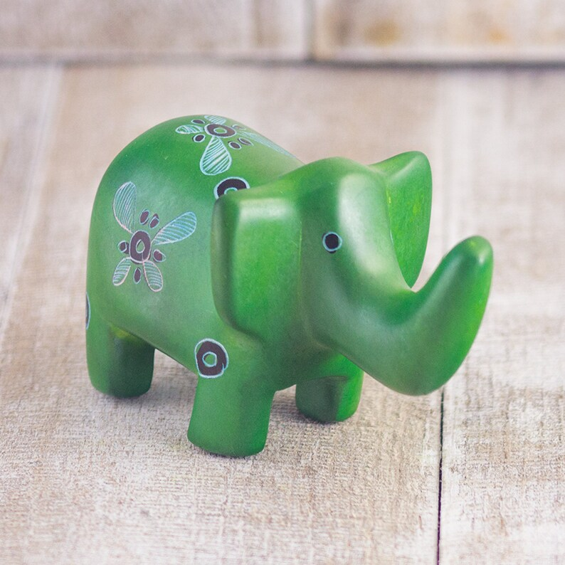 Ellie Pooh Hand Carved Soapstone Elephant Figurines Paperweight Desk Buddy Mr