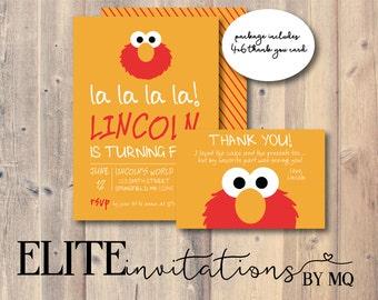 Elmo Birthday Invitation & Thank You Card Sesame Street | Etsy
