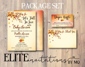Let's Fall In Love Baby Shower Invitation [Package] - Fall, Autumn, Leaves Falling, Tree, Diaper Raffle, Thank You