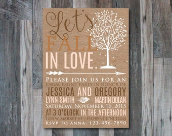 Let's Fall In Love Engagement Invitation | Autumn, Falling In Love, Rustic, Simple, Kraft Paper