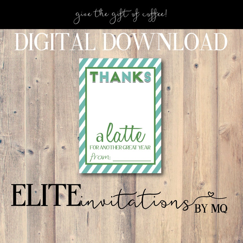 Thanks A Latte Card Perfect For Coffee Gift Starbucks Printable End Of Year Thank You