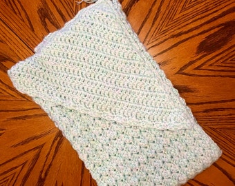 Hooded crocheted heirloom one of a kind baby blanket
