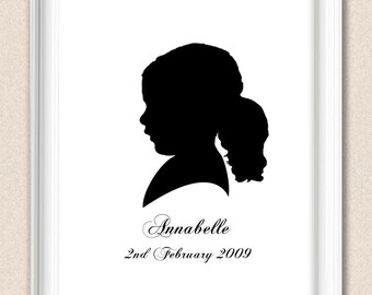 Silhouette Portrait Personalized Child Silhouette Portrait Custom Colour and Custom Text A063