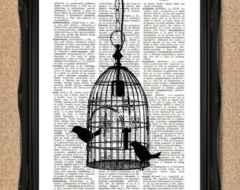 Decorative Birdcage Print Vintage Dictionary Page with Two Birds 8x10 inch A017