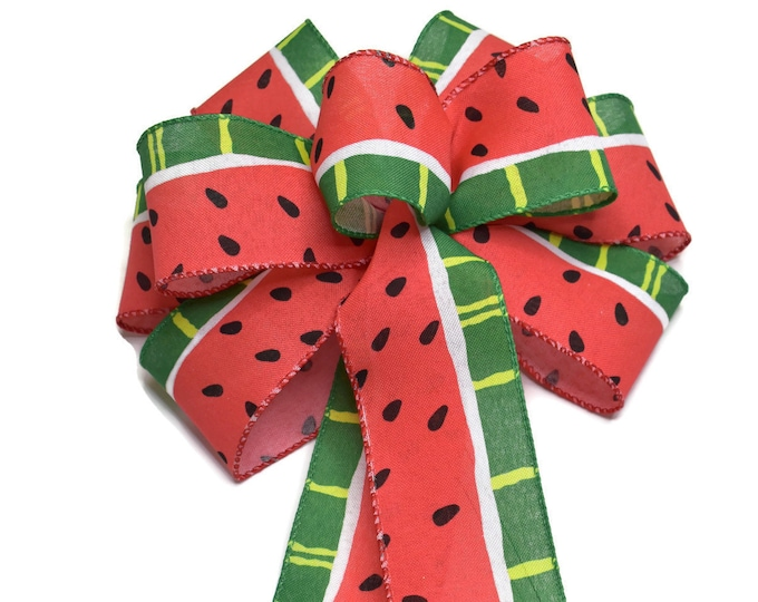 Featured listing image: Wired Watermelon Wreath Bow