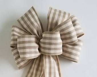 """Set of 2 Large 10"""" Hand Made Wired Tan & Cream Check Bows"""