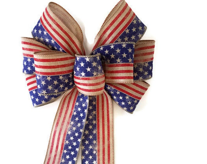 Featured listing image: Wired Red, Natural and Blue Patriotic Wreath Bow