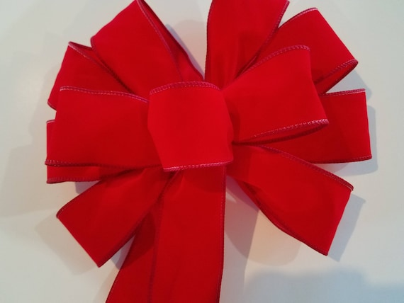 Set of 12 Red Outdoor Christmas Wreath Bows 21 Inches High x 11 Inches Wide Weatherproof