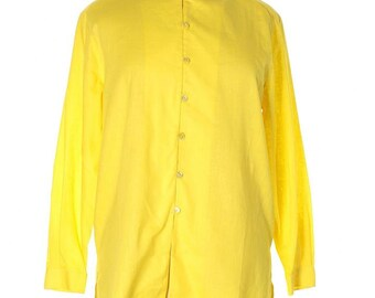 6de608d0212888 Saks Fifth Avenue NEW! Yellow Vintage Long Sleeve Linen Tunic Button-down  Top