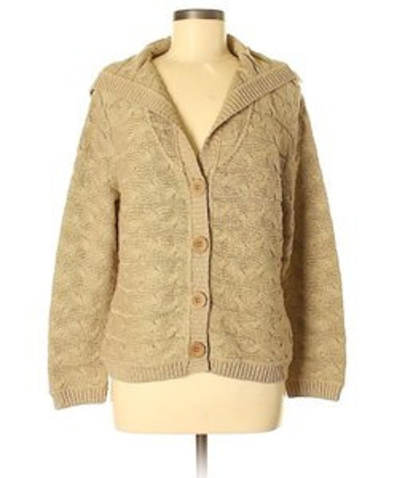 Willow khaki cable knit sweater cardigan M