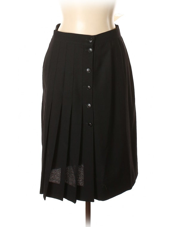 Emanuel Ungaro Black Vintage Wool Pleated Skirt