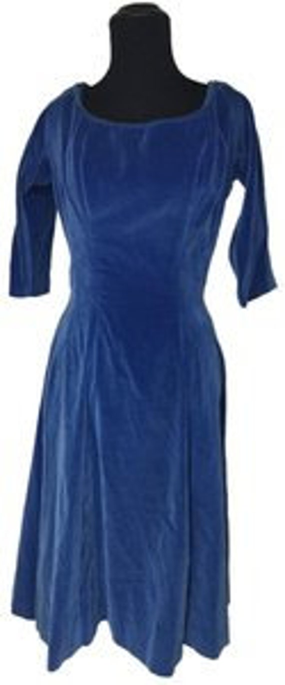 Gigi Young New York Blue Velvet Fit anf Flare Dres