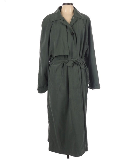 Gallery olive green Lined/Insulated long Trench co