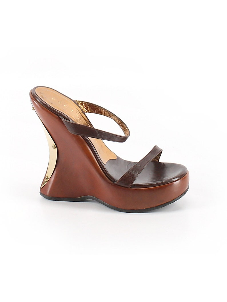 62c4e62fdc8 Vicini by Giuseppe Zanotti Italian Brown Leather Wedge Sandals  Leather/Gold/Brass Metal Rivet