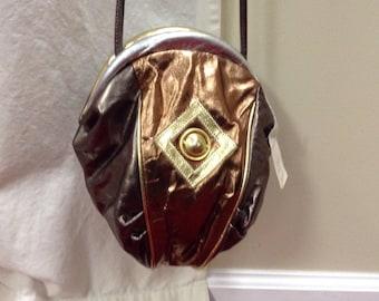 Atalla Handbags Vintage Bronze Leather Cross Body Shoulder Bag