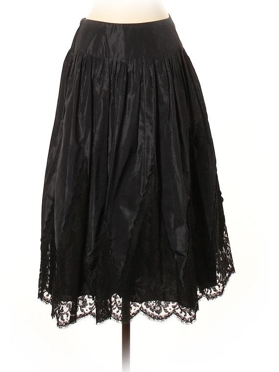 Teri Jon Taffeta Lace Pleated Tea Length Skirt