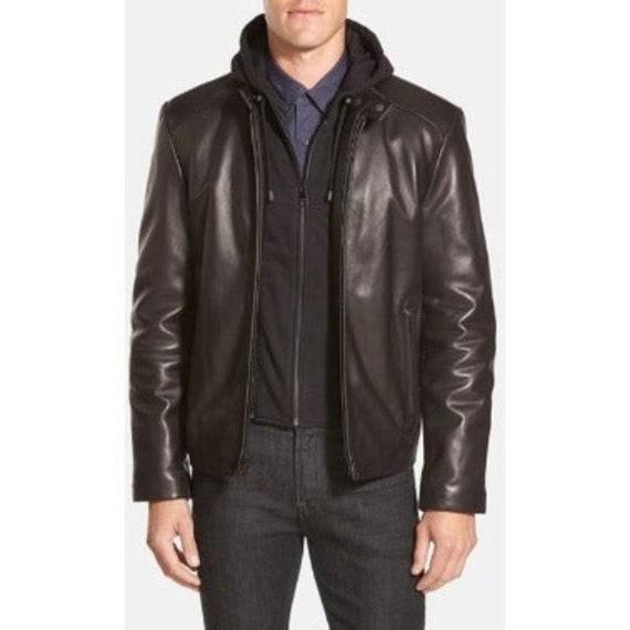 Andrew Marc Black Classic Lamb Leather Moto Jacket