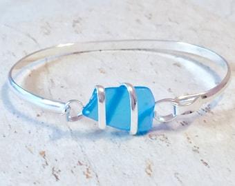 Sea Glass Bracelets, Blue Sea Glass Bracelet, Silver Sea Glass Bracelet, Beach Jewelry, Sea Glass Jewelry, Sea Glass Bangle, Blue Bracelets