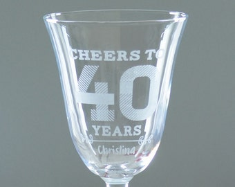 Personalised 40th Birthday Wine Glass